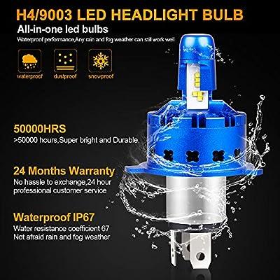 H4 LED Headlight Bulb Hi/Lo Beam 12000LM 50W Ultra Bright 9003 Headlight Conversion Kit All-in-one High-tech Anti Glare 6000K Hb2 LED Bulbs Cooler White: Automotive