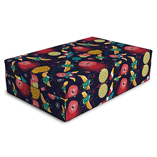 Lunarable Fantasy World Pet Bed, Eccentric Design of Beetles Butterflies, Animal Mat Foam and Stylish Printed Cover, 24