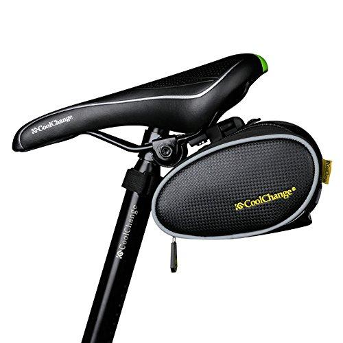 Szhoworld CoolChange Compact Carbon fiber grain Bike Seat Packs/Saddle bag (Black)
