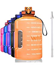 ETDW Gallon Motivational Water Bottle Jug with Time Marker, 74oz/128oz BPA Free Big Water Bottle with Handle Leakproof Click Pop Up Daily Water Intake Bottle