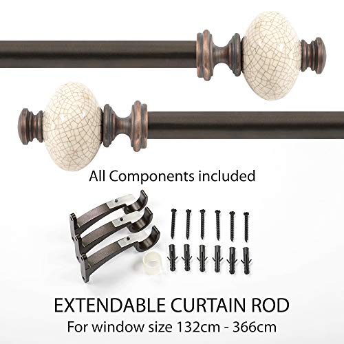- Curtain Rod - Supreme Ceramic 25mm Extendable Curtain Rod/Drapery Rod for Windows & Door with Brackets - Brown, 52
