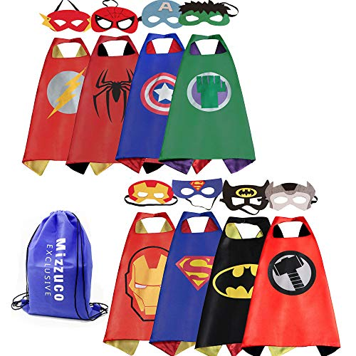 Mizzuco Kids Cartoon Dress up Costumes Satin Capes Felt Masks Exclusive Bag Copslay Birthday Party -