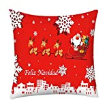 Throw Pillow Covers Merry Christmas Notekd Christmas Decorative Cushion Cover Case Pillow Custom Zippered Square Home Decor Pillowcase 18x18 for Sofa Bed Room (H)