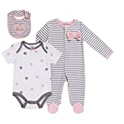 Baby Girls' Layette Sets 3-Piece Footed Long-Sleeve Pajama, Bodysuit and Bib. Size 0-3 Month
