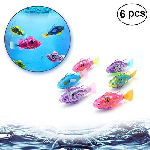 6PCS LED Swimming Robot Fish Activated in Water Electric Turbot Clownfish Battery Powered Robo Fish Toy for Children Kids Gift