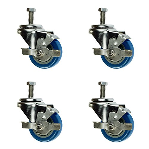 3 Non Marking Blue Polyurethane Wheel Set of 4 3 Inch Swivel Casters with Brake 1//2 Threaded Stem
