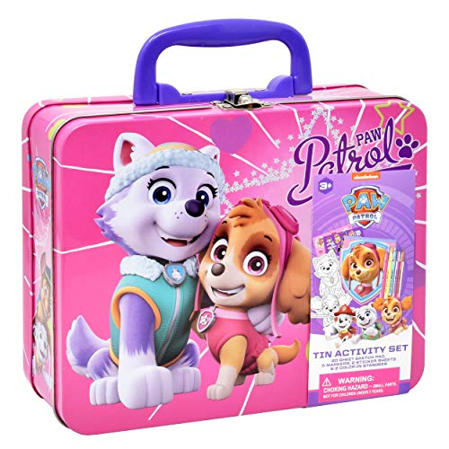 PAW-Patrol-Coloring-and-Activity-Tin-Box-Includes-Markers-Stickers-Mess-Free-Crafts-Color-Kit-in-Tin-Box-for-Toddlers-Boys-and-Kids