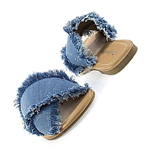 Destroyed Frayed Denim Slide Sandal product image