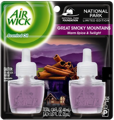 Air Wick Scented Oil Plug in Air Freshener, National Park Collection, Great Smoky Mountains, Twin Refills, 0.67 Ounce