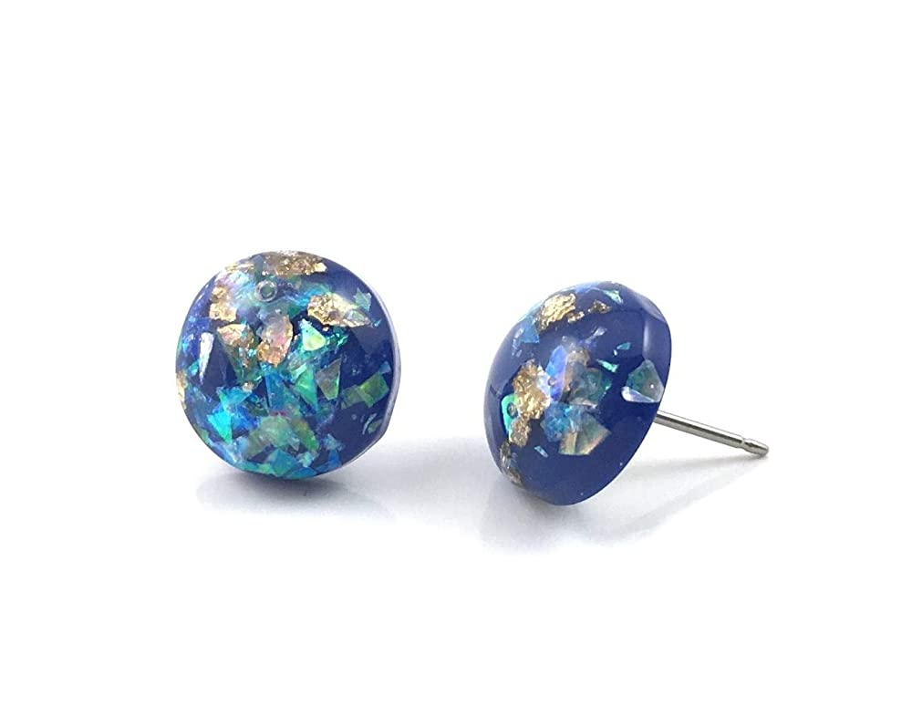 12mm Turquoise Blue Gold Leaf Opal Earrings Titanium or Surgical Stainless Steel Nickel Free Iridescent Blue Stud Earrings
