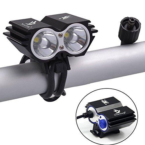 YUMUN® Ampoules d'éclairage Éclairage extérieur vélos Light Bike Light + 8.4V, 4000mah, 2 x 18650, rechargeable li-ion Batterie Nestling logo 2 LED CREE XM-L T6-U2, 5000lm