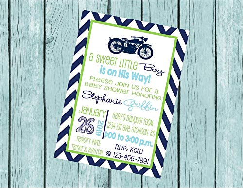 Motorcycle Green, Navy, Light Blue Baby Shower Customized 5x7