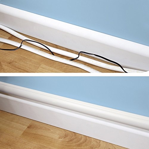 """D-Line White Cable Raceway On-Wall Cord Cover 