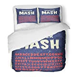 SanChic Duvet Cover Set Vintage Typeface Monster Mash Retro Styled Halloween Cute and Spooky Lettering Inspired By Old Comic Decorative Bedding Set with 2 Pillow Shams Full/Queen Size