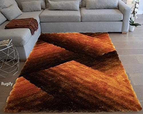 Light Orange Dark Orange Colors 8 x10 Feet Shag Shaggy 3D Fuzzy Furry Decorative Designer Modern Contemporary Area Rug Carpet Rug Indoor Bedroom Living Room Hand Woven Plush Soft Fluffy Fuzzy Furry