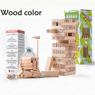 TISESIT INDOOR Jenga Juego Mesa Torre Madera Juego Juego De Apilamiento De Madera para Niños Juego De Jenga - Juguetes De Bloques De Madera, Wood Color: Amazon.es: Deportes y aire libre