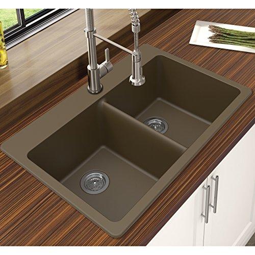 "Winpro New Mocha Granite Quartz 33"" x 22"" x 9-1/2"" Equal Double Bowl Dual Mount Sink"