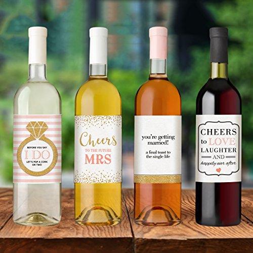 Wedding Engagement Wine Label Pdf: Wine Bottle Labels For Engagement Party Gift, Bridal