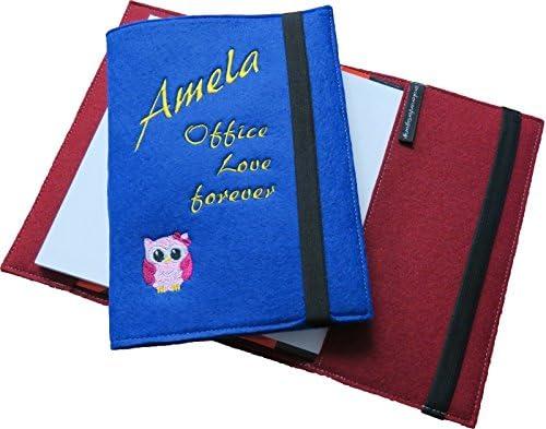 Filz-Notizbuch mit Stift A5 mit Name//Spruch /& Motiv//Sternzeichen bestickt in 3 Farben zur Auswahl