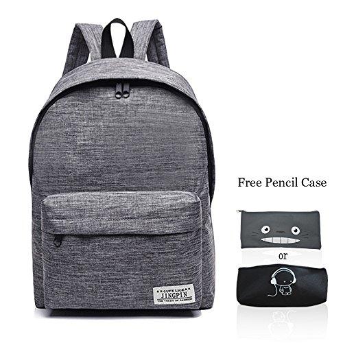 School Bag Canvas Book Bag School Backpacks With Pen Bag for boys girls  (Grey) 9899d925cb08d