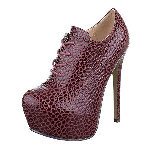 Ital-Design Ankle Boots Damen Schuhe Chelsea Boots Pfennig-/Stilettoabsatz High Heels Schnürsenkel Stiefeletten Weinrot