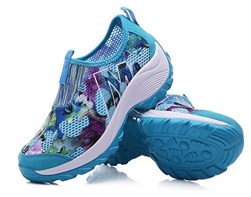 Walking Vintage Sneaker Women's Floral Blue Wedges Platform Print Casual Shoes Fitness BeautyOriginal 6nwzFxfRF