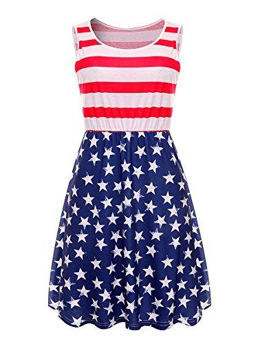 Ytwysj Women's Sleeveless 4th July American Flag Stars Stripes Print Short Casual Shirt Dress Tank Mini Dress (Flag2, XL)