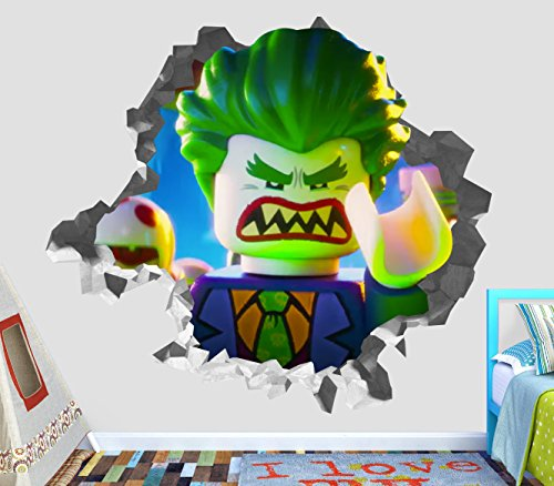 Lego Batman Joker Wall Decal Smashed 3D Sticker Vinyl Decor Mural Movie Kids - Broken Wall - 3D Designs - OP301 (Medium (Wide 30