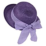 Womens Sun Straw Hat Floppy Summer Beach Hats Packable UV Protection (Violet)