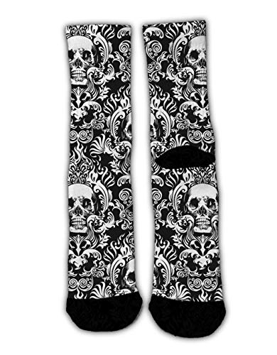 YEAHSPACE Fun Men Women Dress Socks Sugar Skull Black and White Novelty Colorful Patterned Funny Crew Socks, Christmas Stockings Socks Winter Warm Holiday Slippers
