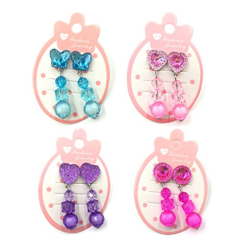 4pc Girl Earrings Clip-on Jewelry Set Value Party Favor Birthday Gift Pretend Play Princess dress up Heart-Shaped butterfly Pendant No holes