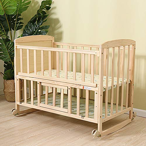 JYXZ Solid Wood Crib, Baby Children's Cradle Bed with Mosquito Net, Bunk Bed Converts to Desk Suitable for 0-3 Year Old Baby