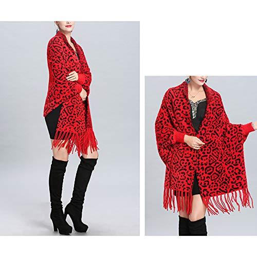Femminile Maglia Cape Lungo Nappa Inverno Cappotto Poncho Jacquard Sciarpa Liulife Mantello Cardigan Autunno Red Scialle Owdqpq0