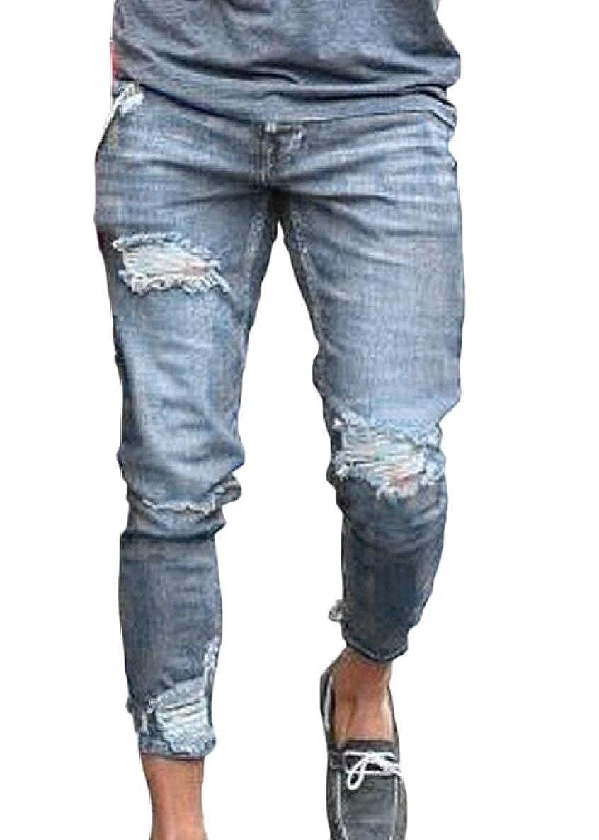 ONTBYB Men Stretchy Ripped Skinny Destroyed Hole Jeans Slim Fit Denim Pants
