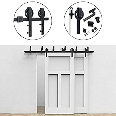 Hahaemall Antique Classic 4-18FT big Wheel Sliding Bypass Barn Door Hardware with Best Heavy Rolling Roller Kit