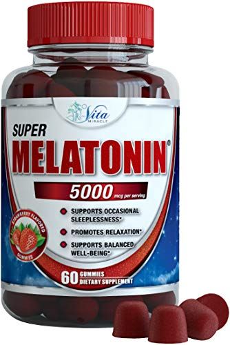 Melatonin Gummies 5mg Chewable Gummy - Adults and Kids Great Tasting Instant Release Sleeping Pills Supplement Plus Works Over Time Best Childrens Sleep Aid (1 Pack) ()