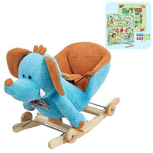 (KARMAS PRODUCT Baby Kids Rocking Horse Toy Child Wooden Plush Rocking Horse Chair Rocker/Elephant Animal Ride on, with Wheels/Music/Seat Belt)
