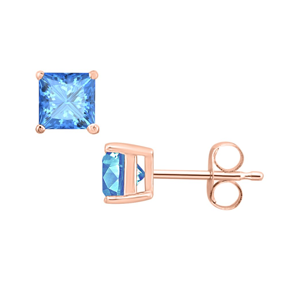 3MM TO 10MM SVC-JEWELS Princess Cut Blue Topaz Solitaire Stud Earrings 14K Rose Gold Over .925 Sterling Silver For Womens /& Girls