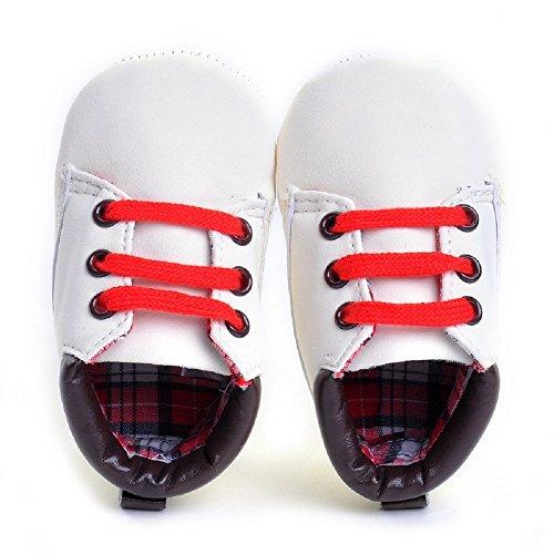 hibote Para bebé Los bebés de los zapatos de las muchachas suavemente único Leathe la zapatilla de deporte del niño de Prewalker recién nacidos blanco