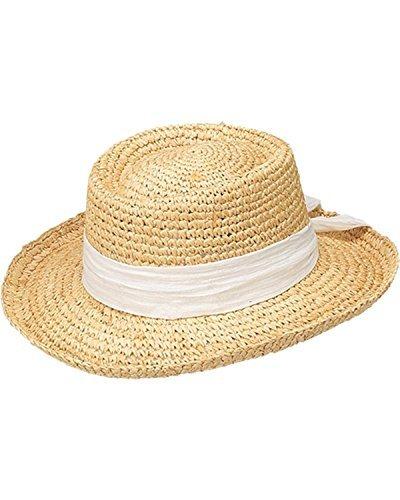 Peter Grimm Ltd Women's Gondola White Bow Raffia Straw Sun Hat White One Size