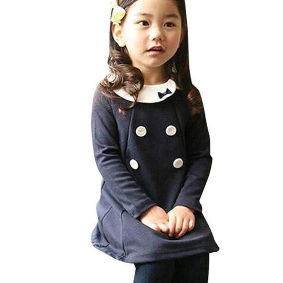 QUICKLYLY Vestido Bebe Fiesta Niña Invierno Otoño Manga Larga DE 12 Meses a 5 Años (
