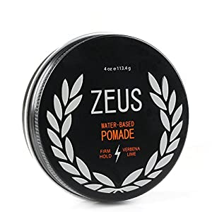 ZEUS Men's Firm Hold Pomade Paraben Free for All Hair Types, 4 Ounce