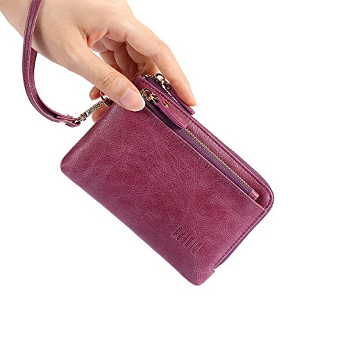 Wallets for Women Soft Leather Zipper Small Hand Purse Minimalist Wristlet Handbags Pabojoe ( Purple (Handbag Compact Zipper Wallet)