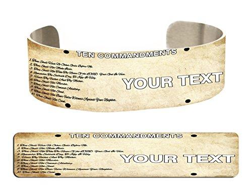 (BleuReign(TM Personalized Bible Series Ten Commandments License Plate Aluminum Bracelet Cuff)