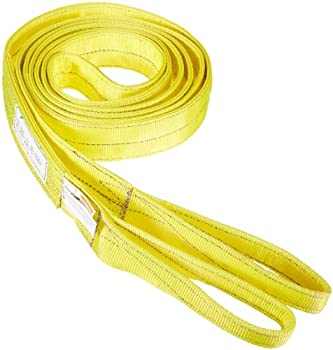 """Indusco 77865751 Type 3 Nylon Flat Eye Synthetic Sling, 2 Ply, 6400 lbs Vertical Load Capacity, 20' Length x 2"""" Width"""