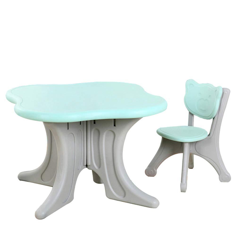 Kindertisch- Und Stuhlset, VierbläTtrige Kleeblatt Form, Geeignet Zum Lesen, Essen, Spielen Mit BlöCken (Jungen Und Mädchen Im Alter Von 3 Bis 7 Jahren) Blau 1 table +1 chair