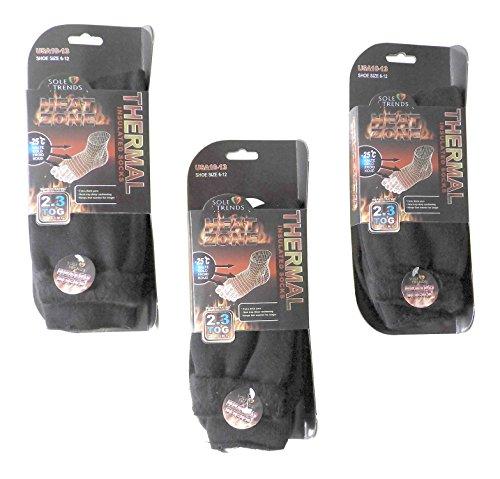 3 Pair Mens Black Heat Zone Heated Socks Thermal Insulated Boot Socks 100% Thermal Warmth, Black, 10-13 USA