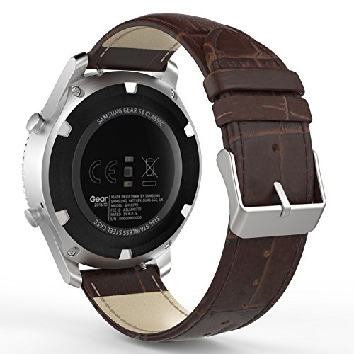 Genuine Crocodile Band (Gear S3 Watch Band, MoKo Premium Soft Genuine Leather Crocodile Pattern Replacement Strap for Samsung Gear S3 Frontier/S3 Classic/ Moto 360 2nd Gen 46mm Smart Watch, BROWN (NOT FIT S2&S2 Classic&Fit2))