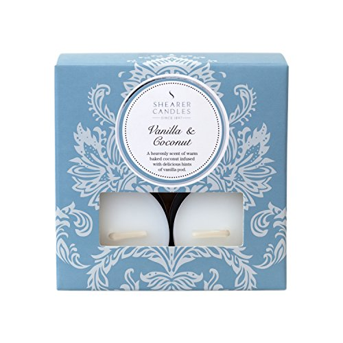 - Shearer Candles Vanilla and Coconut (Pack of 8) Scented Tealights - White