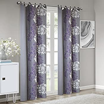 Amazon Com Lush Decor Flower Drop Curtain Panel Purple